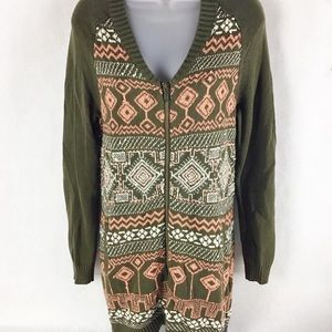 Anthropologie Moth Jacquard Front Zip Sweater